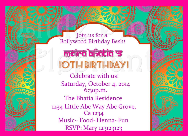 Indian Invitation Bollywood Invitations Bollywood Party Etsy