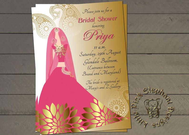 3e1b971cedee Indian bridal shower invitation bollywood invites indian