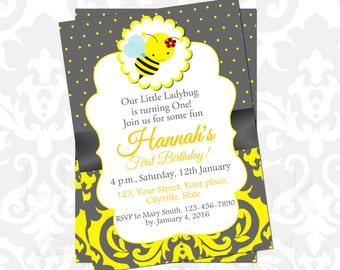 Bumble bee invitation- Bee invitation- Bee invites- Bumble bee baby shower invitation- Bee baby shower- Bumble bee birthday- Bee birthday