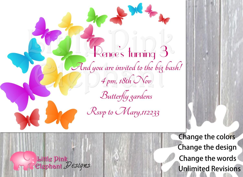 Butterfly invitationbutterfly birthday colorful diy invites | Etsy