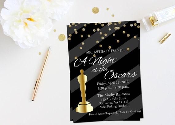 Oscar Party Invitation Academy Awards Invitation Oscar Etsy