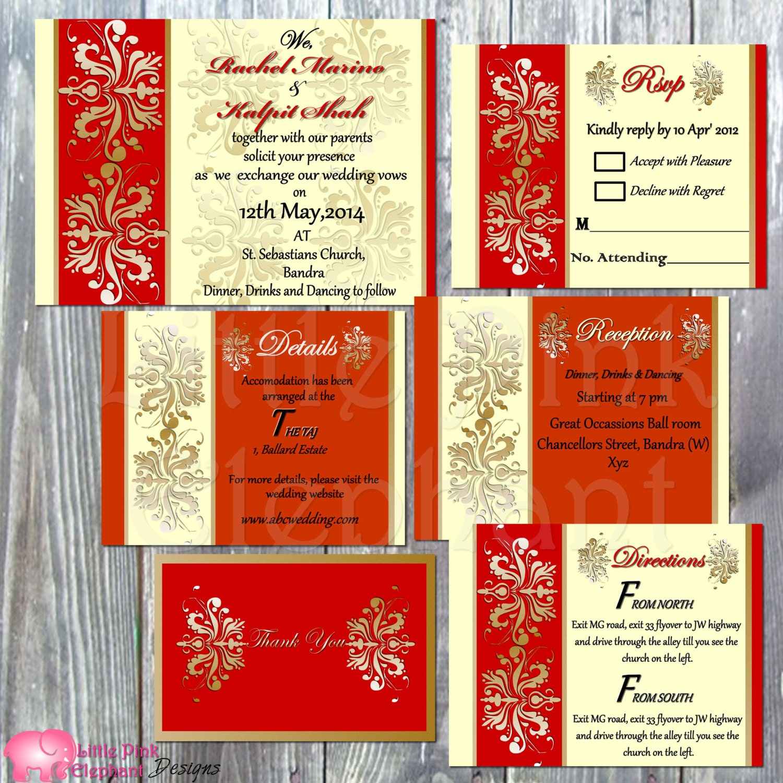 Indian wedding invitation Hindu wedding invitation Bollywood   Etsy