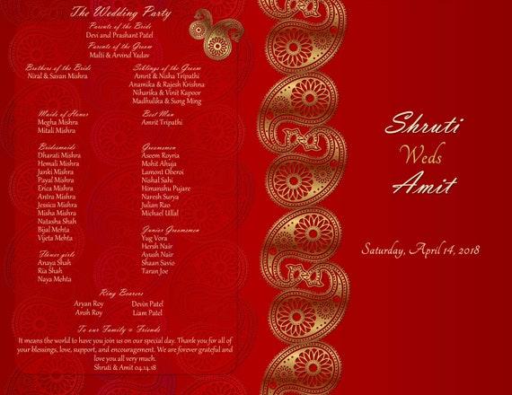 Hindu Program Booklets Indian Wedding Program Gujarati Wedding Program Tamil Wedding Program Hindu Ceremony Program Hindu Shaadi