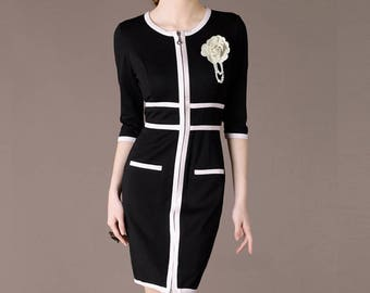 Fashion Women Dress Black and White Autumn Dress Zipped Retro Design Clothing Mother of Bride Dress