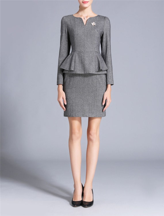 Gray Grey Dress Suit Peplum Top Formal Dress For Work Women Etsy