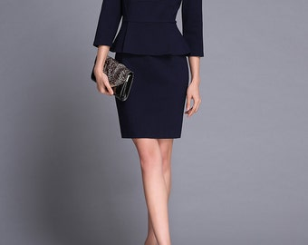 Preppy Chic Peplum Office Wear Business Suit Navy Blue Made to Size Custom Sewing by Chieflady CC220