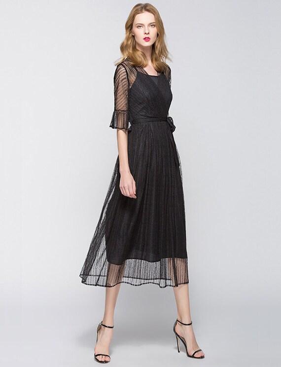 Elegant Black Midi Dress Lace Sundress Prom Dress with ...