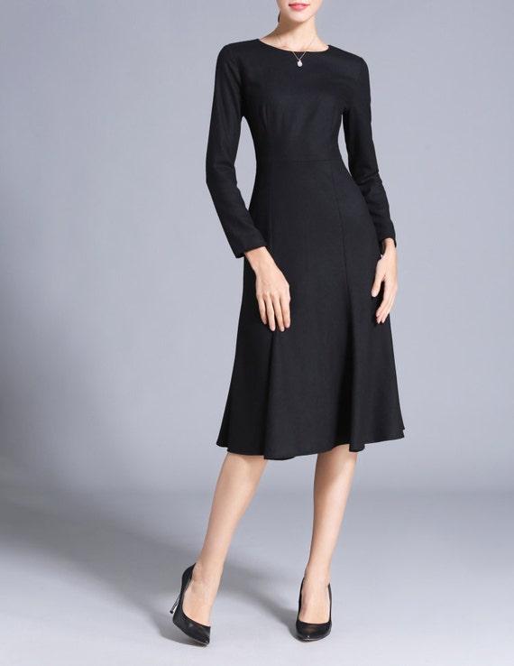 Wool Dress Black Mid Calf Dress Made To Measure Fishtail Dress Etsy