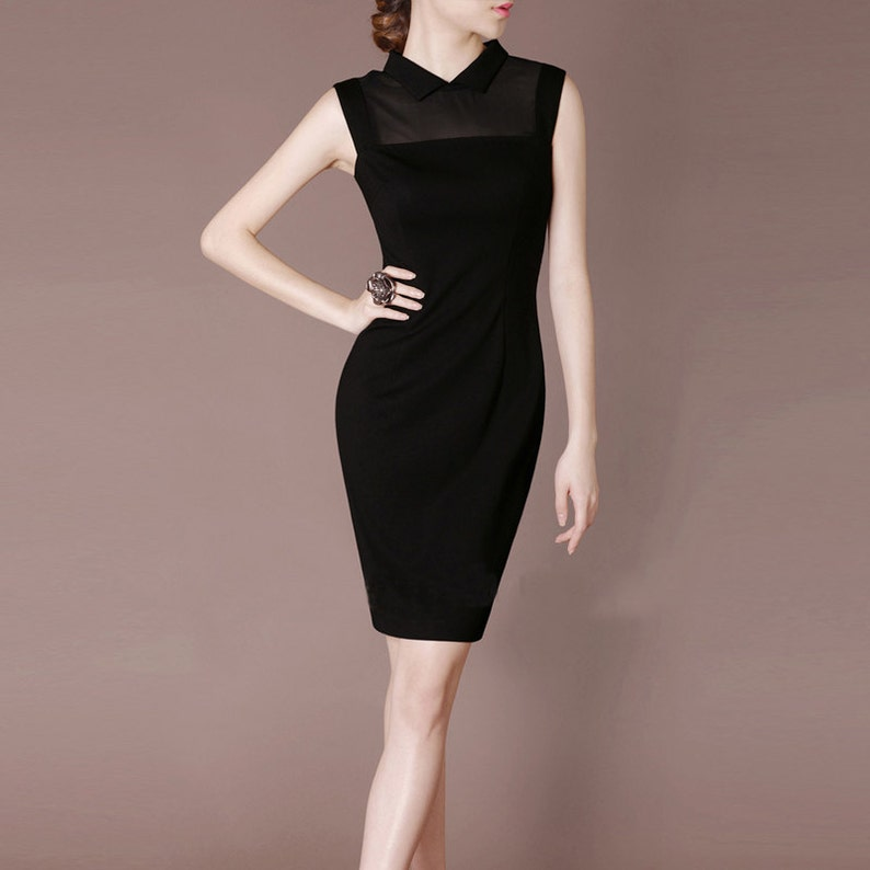 7739aa665c9256 Vintage zwarte Mini jurk schede elegante avondjurk Peter Pan