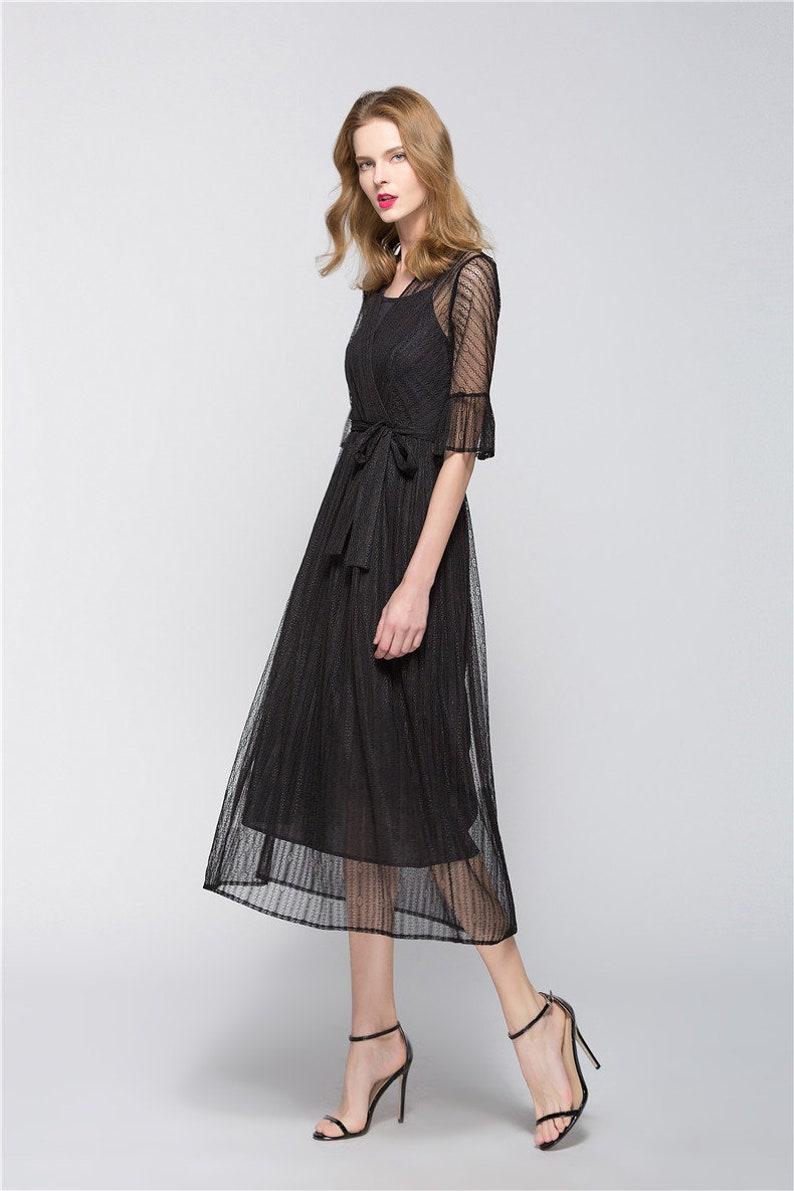 ce4814085967 Elegant Black Midi Dress Lace Sundress Prom Dress with Sashes | Etsy
