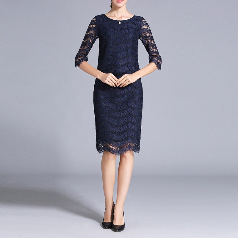 Mother Of The Bride Dress Suits In Navy Blue Lace Dress