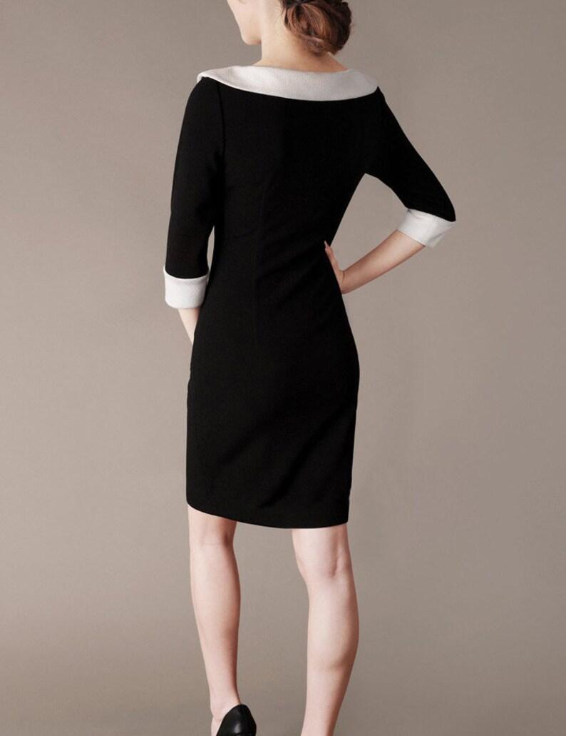fa309ac1ade99c Audrey Hepburn stijl jurk zwart-wit Peter Pan kraag
