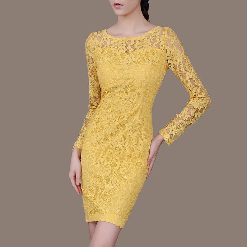 b2388a04dbb0c Yellow Lace Mother of the Bride Dress Plus Size Bridesmaid | Etsy