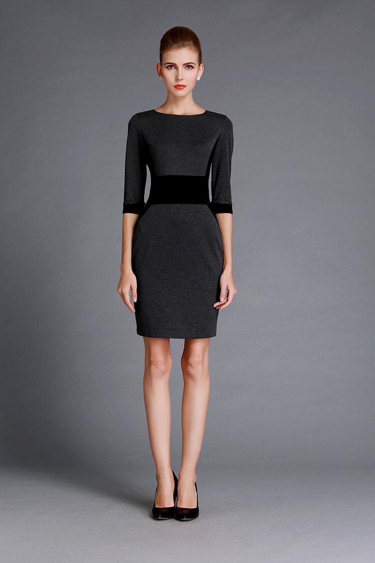 Black/Grey Autumn Dress Elegant Office Outfits Halft ...
