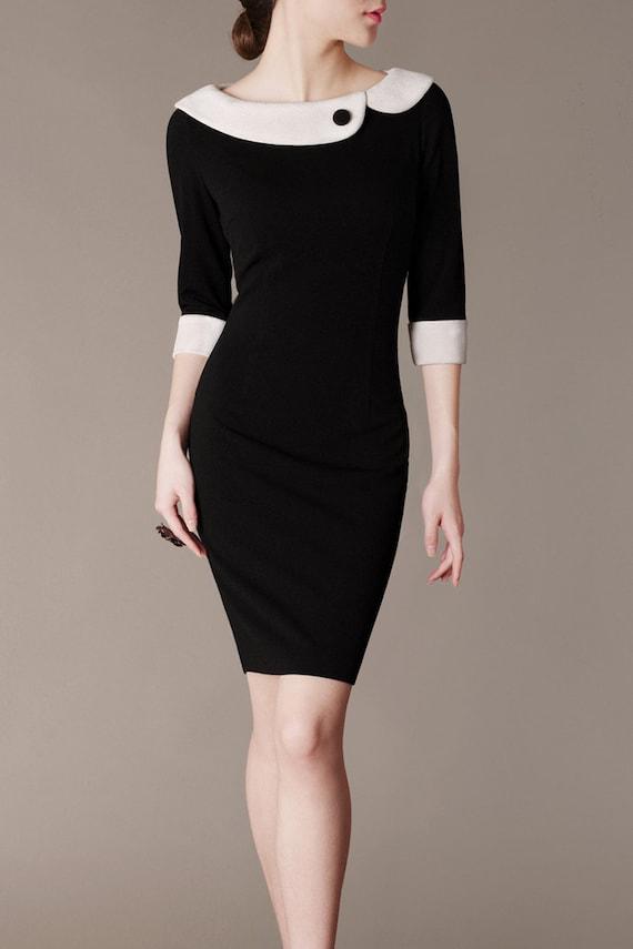 Audrey Hepburn Style Dress Black And White Peter Pan Collar Etsy