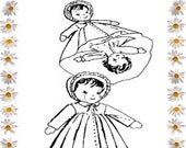 Digital Download, Topsy Turvy Doll, Mail Order Pattern, Laura Wheeler, Design 7121, Alice Brooks, Doll Pattern, Cloth Doll Rag Doll, Dolly