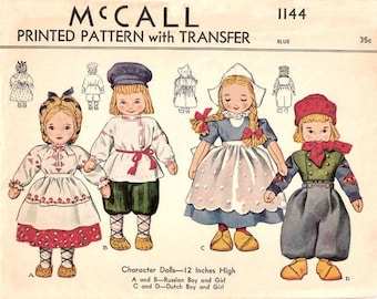 PDF Doll Pattern, 1940s Russian and Dutch Boy and Girl International Cloth Doll Pattern, Doll Clothes Pattern, Sewing Pattern, Download