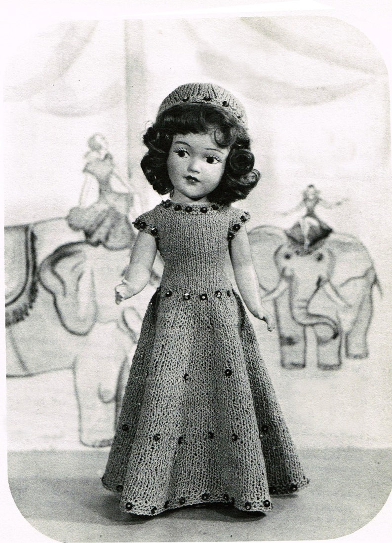 """Vintage Crochet PATTERN to make Doll Clothes Coat//Dress Hat Bag Mary Hoyer 14/"""""""