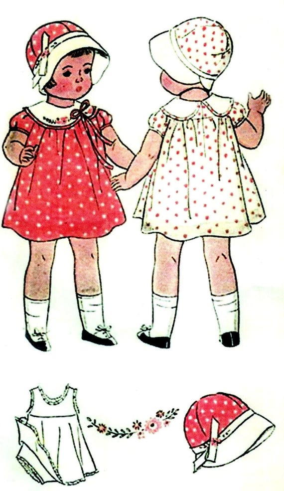 """Vintage 1930s Doll Clothes Pattern ~ 21/"""" 22/"""" ShirleyTemple Patsy Composition"""