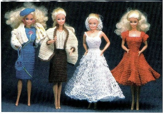 Barbie Crochet Doll Clothes Barbie Dress Pattern Barbie Etsy