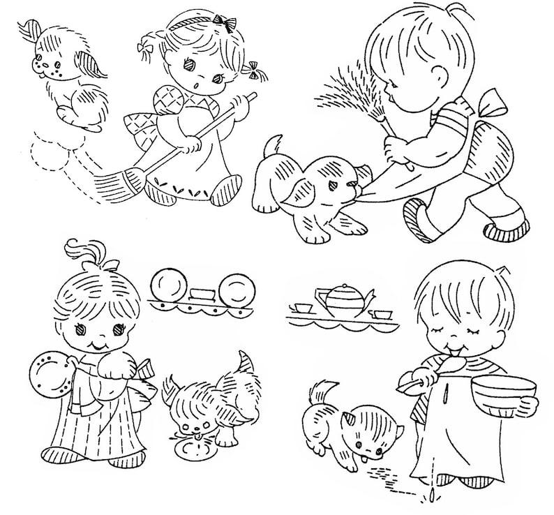 Design 823 Little Helpers PDF Embroidery Digital Pattern Transfer Pattern Hand Embroidery Vintage Pattern DOW Motifs