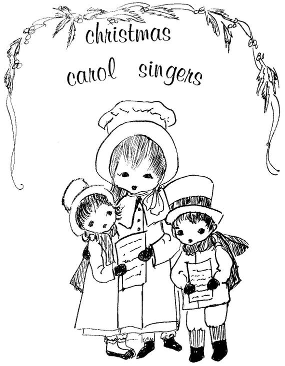 3 christmas carolers vintage cloth doll pattern by ella etsy 18 Inch Doll Shoes image