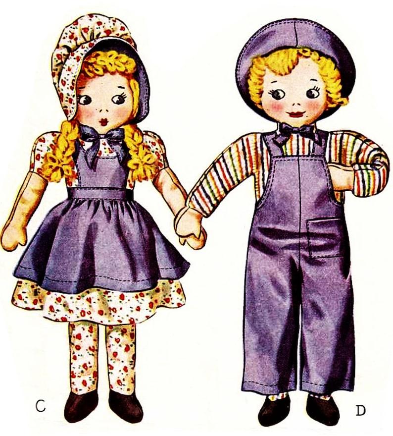 "Vintage Sunbonnet Sue /& Sam Cloth Stuffed Dolls Pattern ~ 18-19/"" tall 1940s"