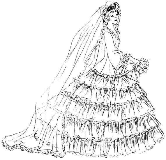 pdf doll pattern bridal gown cloth doll pattern doll etsy 1860 Ball Attire Patterns image