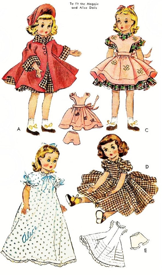 Doll Clothes Pdf Pattern Doll Clothes Pattern Vintage Etsy