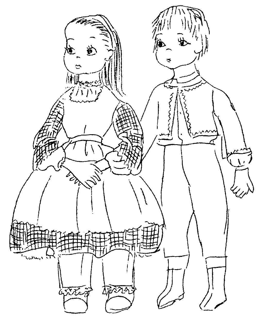 tom sawyer and becky cloth doll pattern doll clothes pattern etsy 1960s Work Clothes 50