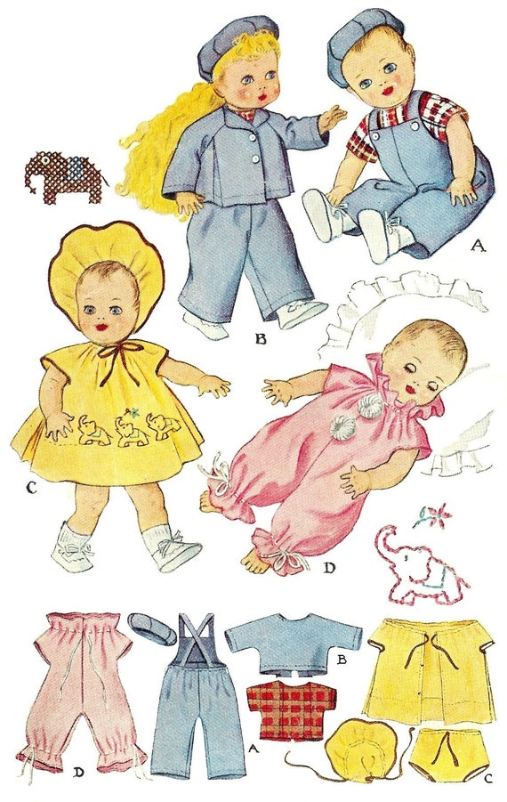 "Vintage 15/"" 16/"" Baby Doll Clothes Pattern~ Sparkle Plenty Dy Dee Tiny Tears"