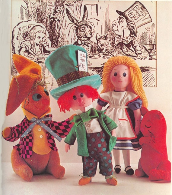 Vintage The Mad Hatters Tea Party Cloth Doll Pattern And
