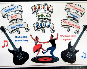 Rock N Roll Invite Etsy