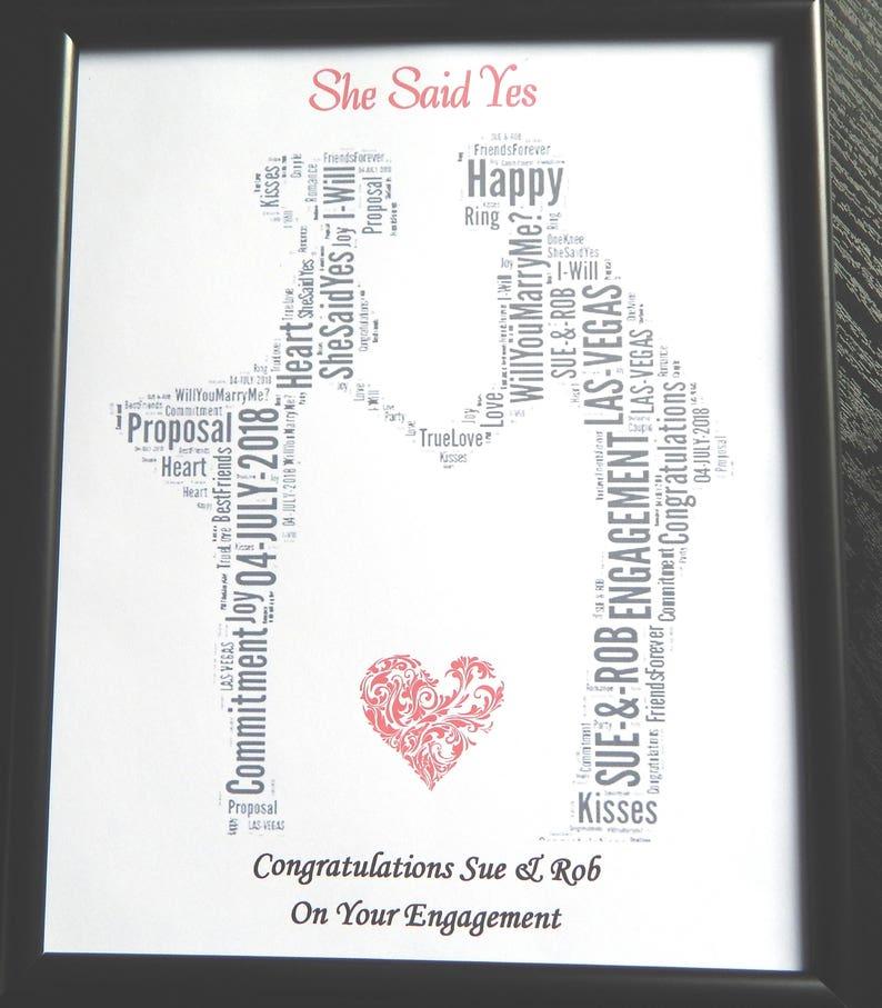Personnalisé Chat Couples Engagement cadeaux engagés Félicitations Imprimer présente