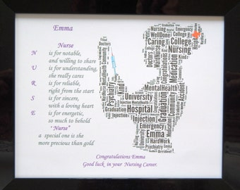 New Personalised Congratulations, 'On Your New Career' - 'Nurse'  Word Art, In Glass Front Photo Frame (Any Career), Unique Gift & Keepsake