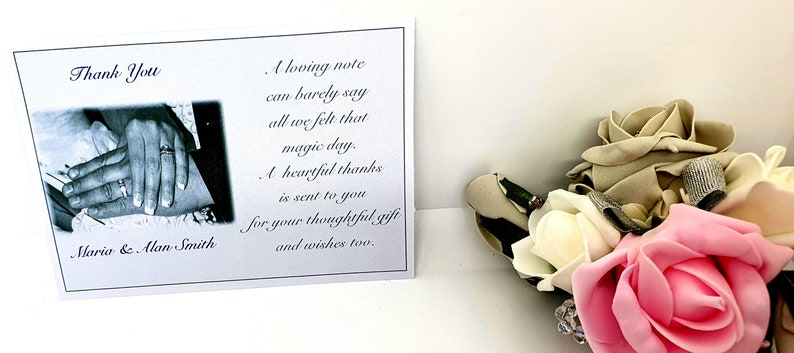 New 25 or 50 x Personalised  Wedding Thank You Cards With Photograph With Free Envelopes And Reduced Postage Design B