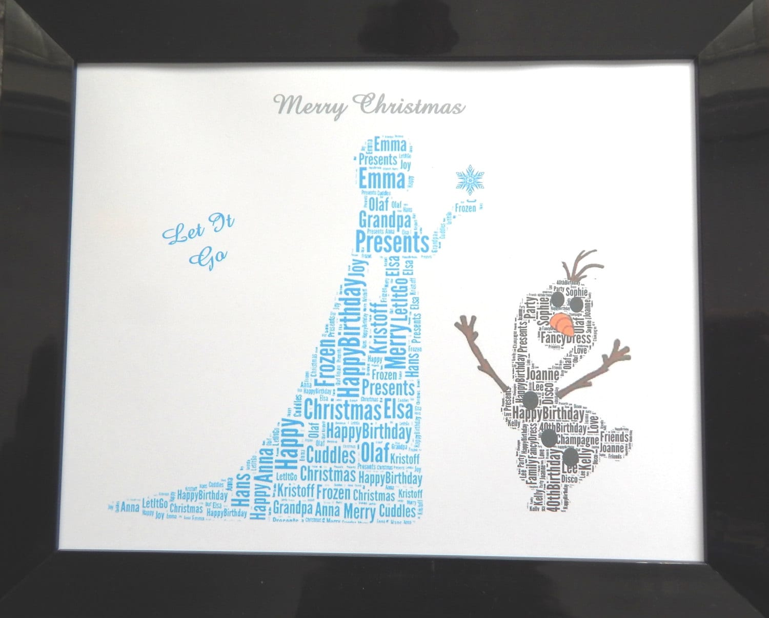 New Personalised Frozen Elsa & Olaf Word Art PRINT ONLY