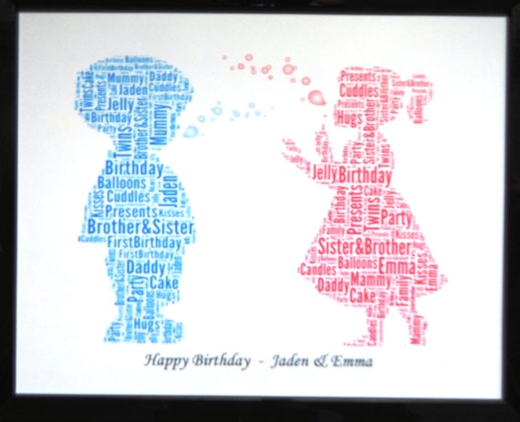 New Personalised Twins Or Boys Or Girls Birthday Bubbles Word Art Dsign B Print Only Size 8x10 With Reduced Postage