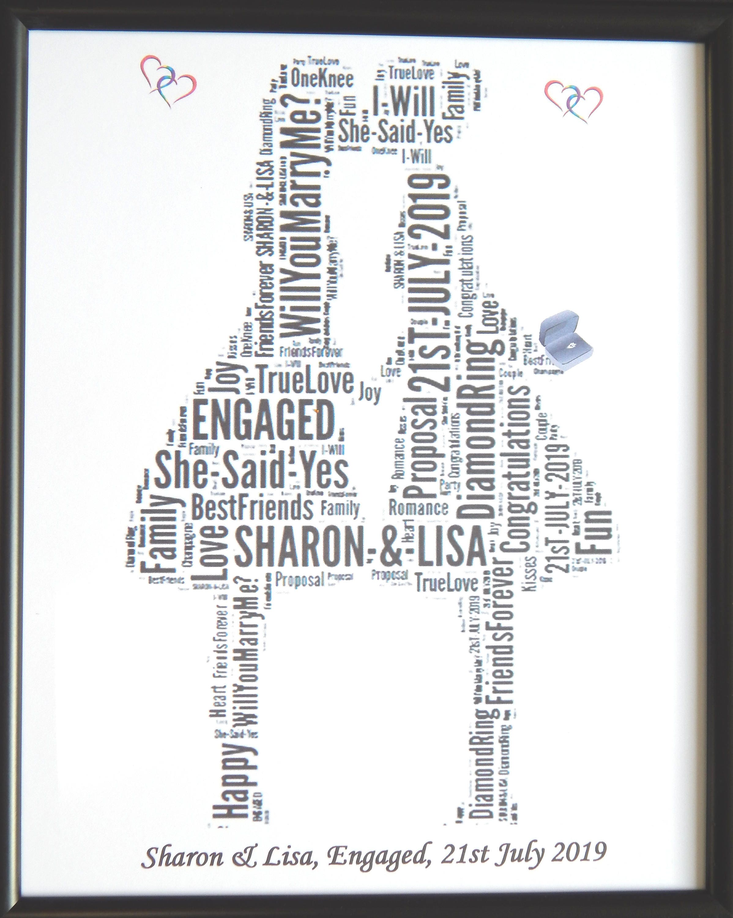 New Personalised Gay Lesbian Female Engagement Word Art Etsy
