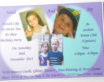 "New 25- 32 - 40 - 50 x Personalised Twins or Girls & Boys Birthday Invitations Design ""C""  With Photographs and Free Envelopes"