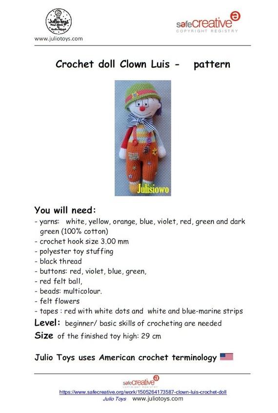 Häkeln Sie Muster Puppe Clown Luis. PDF-Muster