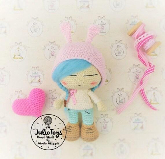 Julia con gorro de conejo PDF crochet patrón   Etsy