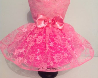Pretty Pink Lace Party Dog Dress for all small breed dogs 4a0904572