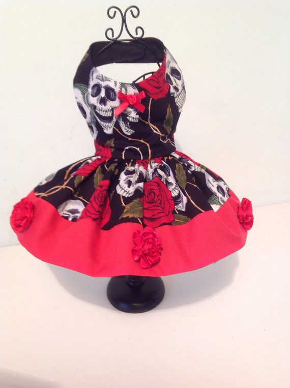 holiday party dog dress Beautiful red rose cotton dog dress for all small breed dogs designer dog outfits pets custom made dog clothes