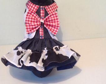 Cowgirl fancy dress costume for all small breed  dogs, designer dog clothes, custom made dog outfits, chihuahua fancy dress for dogs,pet pup