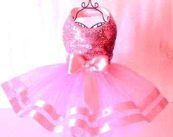 Beautiful Pink Sequinned Tu Tu Dog Dress for small breed dogs designer dos clothes chilhuahua dog clothes custom made dog outfits, dog tutu