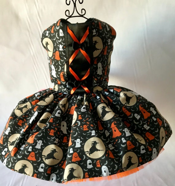 Halloween black and orange witches fancy dress for small breed  96d75cf00