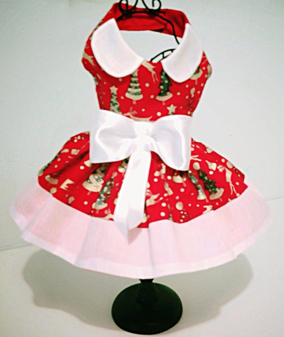 Xmas Cream or Red cotton party dress for all small breed  42171773d