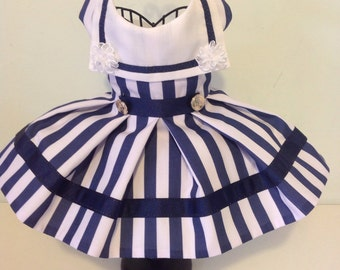 Sailor dog dresses for small breed dogs, designer dog clothes, custom dog outfits, holiday party dresses, pet clothes, dog dresses, XS dress