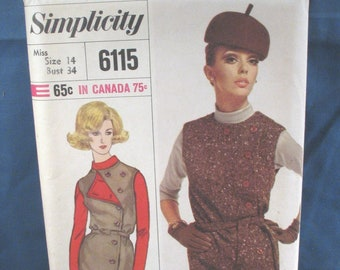 Vintage Simplicity Sewing Pattern 6115 Misses Blouse and Jumper 1965 - Size 14